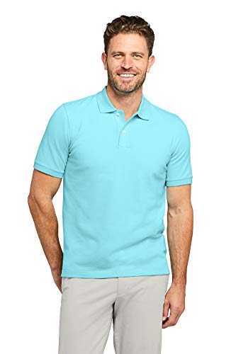Lands' End Men's Short Sleeve Comfort First Solid Mesh Polo, S, Aqua Shell ()