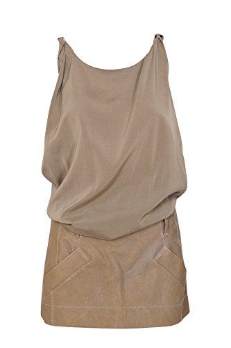 Brunello Cucinelli Kleid Damen Hellbraun Einfarbig Seide 42 IT KBowZW9yu 87748d182e