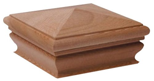 Woodway Pyramid 6x6 Post Cap - Premium Cedar Wood Fence Post Cap, Newel Post Top 6 x 6, Fits Up To 5.5 x 5.5 Inch Post, Pack of 8 ()
