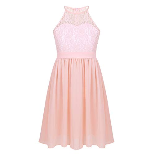Agoky Kids Big Girls Halter-Neck Floral Lace Junior Bridesmaid Dress Dance Party Birthday Wedding Long Gown Pink Knee Length 10 -
