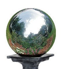 Mystic Gazing Ball - 10 Inch Silver Stainless Steel Gazing Globe