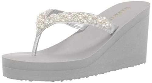 Touch Ups Women's Shelly Wedge Sandal, Silver, 11 M - Wedding Silver Flip Flops