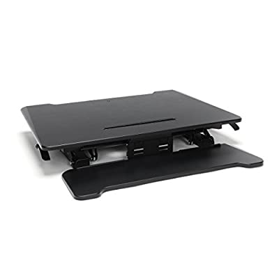 "Essentials Sit to Stand Desktop Riser - Adjustable Standing Desk with Keyboard Tray, 22"" x 35"", Black (ESS-5136-BLK)"