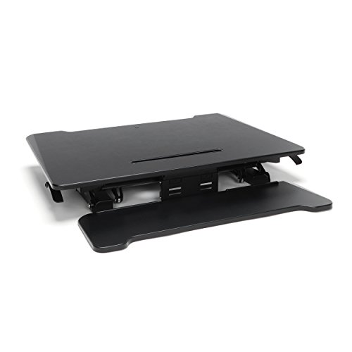 Essentials Sit to Stand Desktop Riser - Adjustable Standing Desk with Keyboard Tray, 22