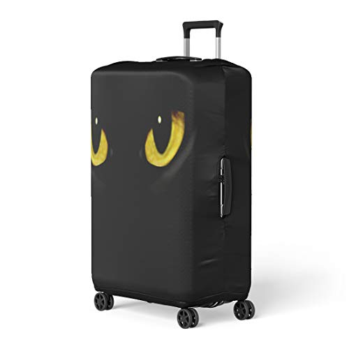 Pinbeam Luggage Cover Yellow Panther Cat Eyes in Dark Night Green Travel Suitcase Cover Protector Baggage Case Fits 22-24 inches]()