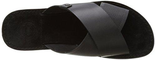 Base London Men's Hector Open Toe Sandals, Black Black (Black Waxy 010)