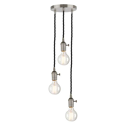 Phansthy 3 Light Industrial Ceiling Light, Brushed Nickel 3 Lights Chandelier Light with ON/Off Button