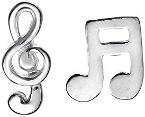 Music Note Stud Earrings Sterling Silver 925 Stunning Fashion Jewelry Gift