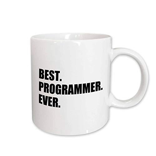 (3dRose mug_185015_2 Best Programmer Ever, Fun Gift for Talented Computer Programming, Text Ceramic Mug, 15-Ounce)