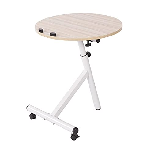 Clearance Emall Life Functional Laptop Desk Notebook Table Adjustable Over Sofa Bed Stand Holder with Wheels (White - Mirrored Set China Cabinet