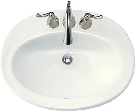 American Standard 0478403.020 Piazza Drop-In Bathroom Sink with 3 Faucet Holes 4 Centers , White