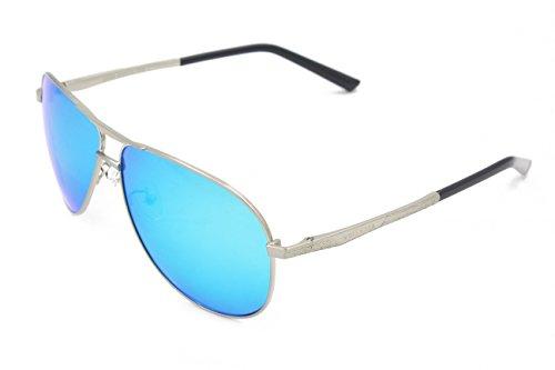 VEITHDIA 2556 Premium Metal Frame Polarized Aviator Sunglasses 100% UV Protection (Silver Frame/Blue Lens, - Cheap Frames Brand Name