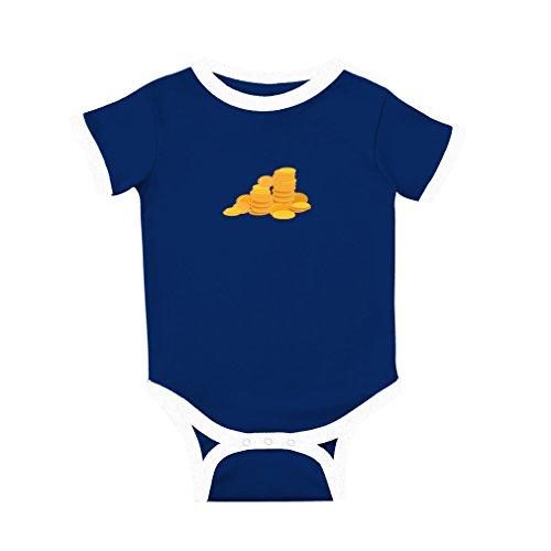 Cute Rascals Gold Coins Cotton Short Sleeve Crewneck Unisex Baby Soccer Bodysuit Sports Jersey - Royal Blue, 18 Months