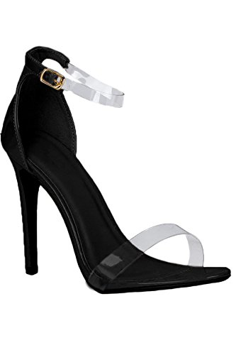 FANTASIA BOUTIQUE ® Ladies Barely There Clear Perspex Ankle Strap Faux Suede Patent Stiletto Heels Black Suede nTdEGCj