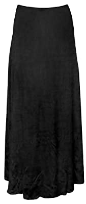 Women's Black Solid Slinky Print Plus Size Supersize Skirt