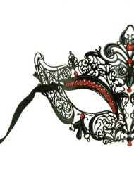 Laser Cut Venetian Masquerade Mask Costume Royal Crown Inspire Designs - Black w/ Red - Venetian Crown