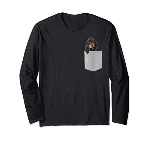 (Dog in Your Pocket Black and tan Coonhound Longsleeved T-shi)