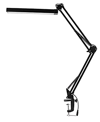 LED Swing Arm Desk Lamp with Clamp - KANARS A16S Premium Aluminum Architect Task Drafting Table Lamp Bright - 7.4W - 3 Level Dimmer - 2 Lighting Modes - Touch Control - Highly Adjustable - Black