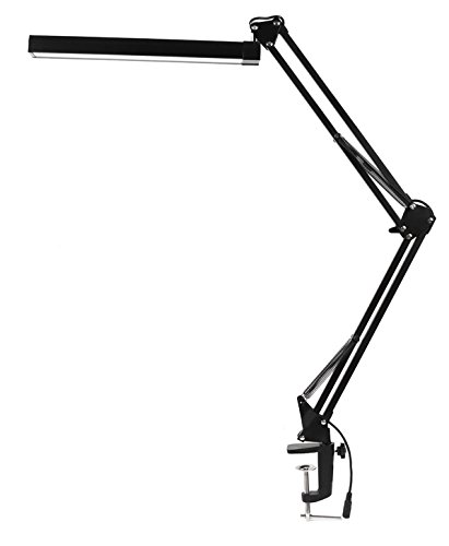 KANARS D6 LED Architect Task Desk Lamp Clamp, Metal Swing Arm Drafting Table Lamp Dimmable ( 3 Level Dimmer / 2 Lighting Modes with Touch Control, Memory Function, Adjustable Arm Work Light) Black