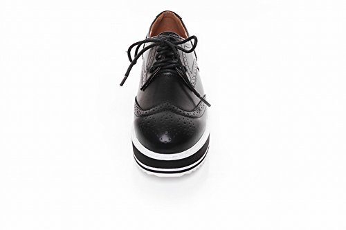 Pied De Charme Womens Western Lace Up Plate-forme Wedge Chaussures Oxford Noir