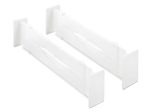 Whitmor Adjustable Drawer Dividers - Drawer Organizers - White (Set of 2) (Short Drawer Divider)