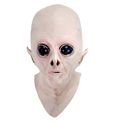 Delaman Halloween UFO Mask Creepy Latex UFO Alien Head Mask for Adults Masquerade Costume Party Cosplay