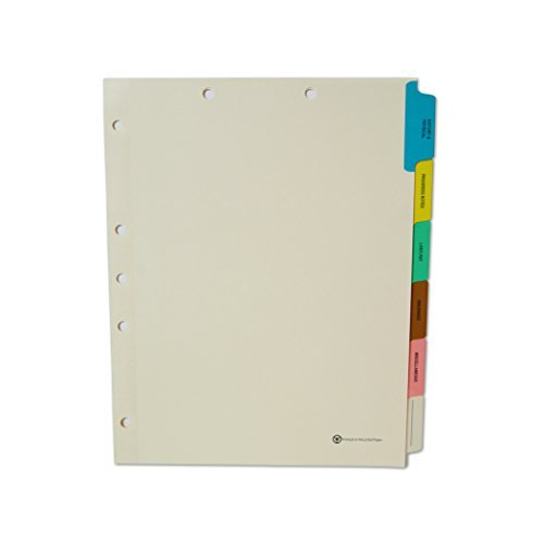 Medical Chart Index Dividers- 6 Tabs, Letter Size, Manila, Side Tab (65/Box)