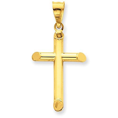Or 14ct 3-D Poli creux Croix Pendentif-Mesures 16.4x 33.1mm