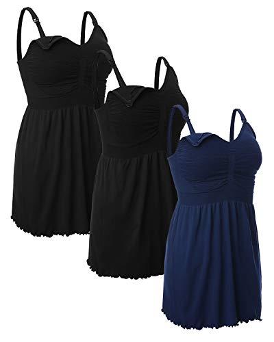 iloveSIA Women's Maternity Nursing Tank Tops Breastfeeding Pajamas with Built in Bra Cami Shirt 3 Pack Black+Black+Blue 3XL