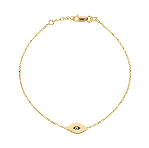 Eye 14k Solid Gold Bracelet - 14k Solid Yellow Gold Mini Evil Eye Good Luck Charm Bracelet Adjustable 7-7.5 Inches