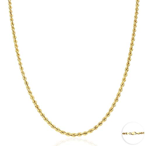 10K Yellow Gold 1.8mm-9mm Hollow Rope Chain Necklace 16