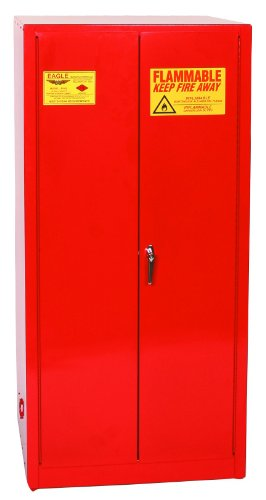"""Eagle PI-62 Safety Cabinet for Paint & Ink, 2 Door Manual Close, 96 gallon, 65""""Height, 31-1/4""""Width, 31-1/4""""Depth, Steel, Red"""