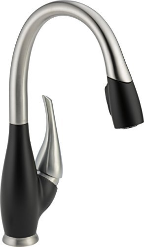 9158 Sb (Delta Faucet 9158-SB-DST Fuse, Single Handle Pull-Down Kitchen Faucet, Stainless/Black by DELTA)
