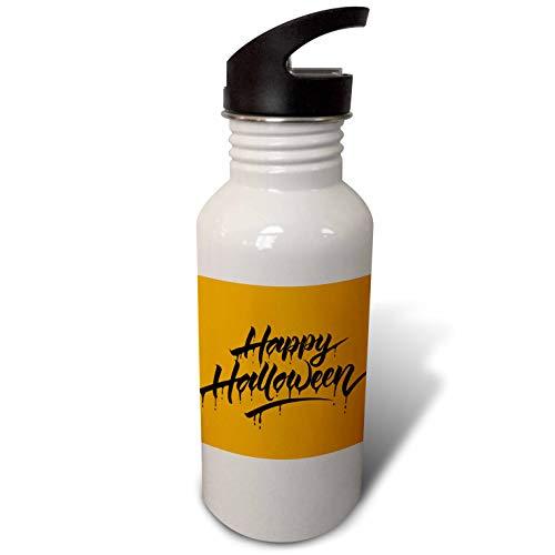 3dRose Sven Herkenrath Celebration - Scary Happy Halloween Quotes with Orange Background - Flip Straw 21oz Water Bottle -