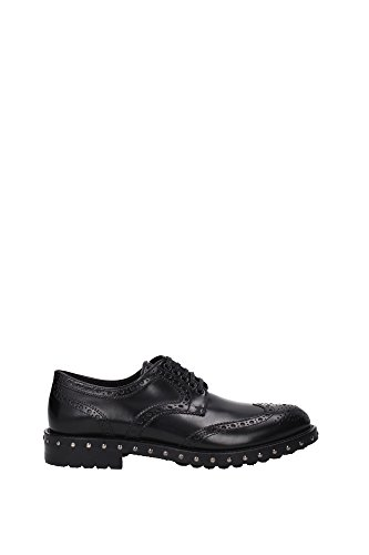 clásico cordones en amp;Gabbana de zapatos negro brogue lux Dolce Negro piel nuevo mujer qUwgS5xx