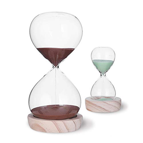 Hourglass Sand Timer Set-30 Minute & 5 Minute Timer Sets -Sand Clock Timers for Room Kitchen Office Decor -Time Management Tool with Wooden Base Stand