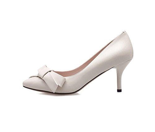 Bowknot Pointed-Toe High Heels Fashion Comfortable Women's Sandals Summer Sexy Shallow Mouth Wedding Shoes Elegant Shoes (Color : White, Size : 35)