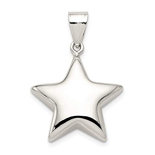 Sterling Silver 18mm Polished Puffed Star Pendant (Puffed Star Silver Sterling)