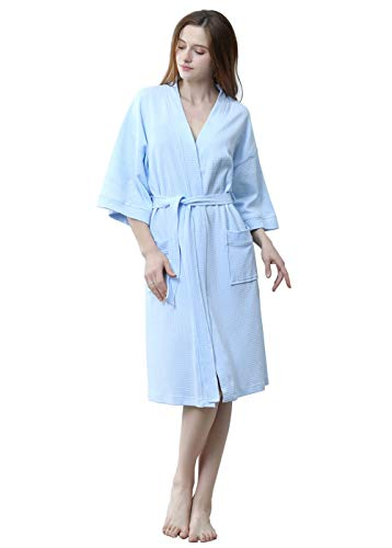 (Womens Lightweight Robe Cotton Kimono Waffle Spa Bathrobe Belted with Pockets for Ladies Sleepwear (Blue, Small/Medium))