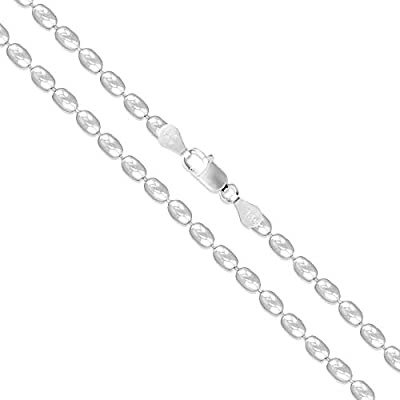 Sterling Silver Italian Ball Bead Chain 3mm 925 Italy New Dog Tag Necklace