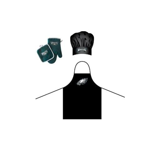 NFL Philadelphia Eagles Team Logo Barbeque Apron, Chef's Hat and Pot Holder Deluxe ()