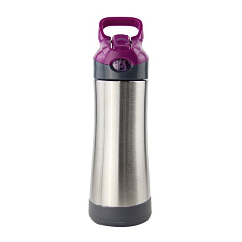 ACHIEWELL Stainless Steel Insulated Water Bottle Ice Cold;Thermos Cup 24 Hours Wide Mouth Large Capacity 16oz Double Wall Leak Proof Flip Top Straw Cap Nursing Moms Water Cup(Purple)