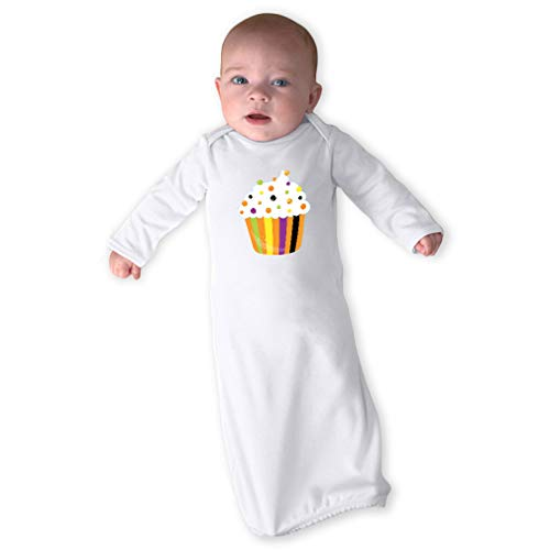 Cute Rascals Halloween Cupcake Long Sleeve Envelope Neck Boys-Girls Cotton Newborn Sleeping Gown One Piece - White, Gown Only