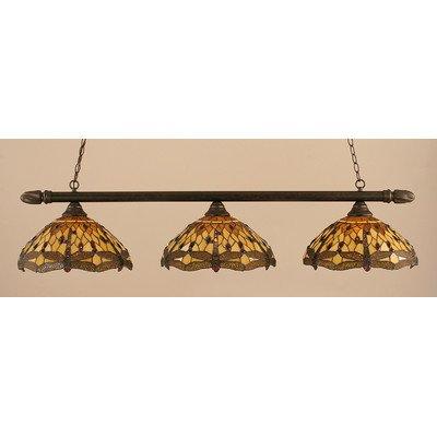 3 Lights Round Bar w Amber Dragonfly Glass Shades