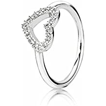 Pando Women's Silver Be My Valentine Rings with Clear Cubic Zirconia(Size:5,6,7,7.5,8.5,9)