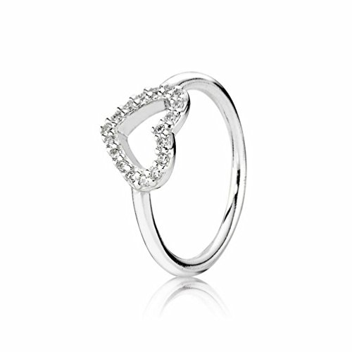 Pando Women's Silver Be My Valentine Rings with Clear Cubic Zirconia,Size:7