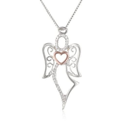 Angel jewelry amazon two tone sterling silver and rose gold over sterling silver angel with heart pendant necklace 18 aloadofball Gallery