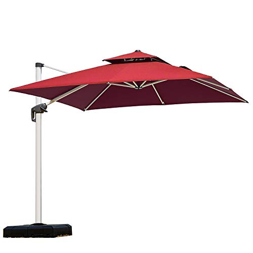 PURPLE LEAF 9 Feet Double Top Deluxe Square Patio Umbrella Offset Hanging Umbrella Cantilever Umbrella Outdoor Market Umbrella Garden Umbrella, - Cantilever Market 9 Umbrella