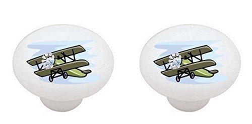 Knob Plane Drawer (SET OF 2 KNOBS - Airplanes Airplane Plane - DECORATIVE Glossy CERAMIC Cabinet PULLS Dresser Drawer KNOBS)