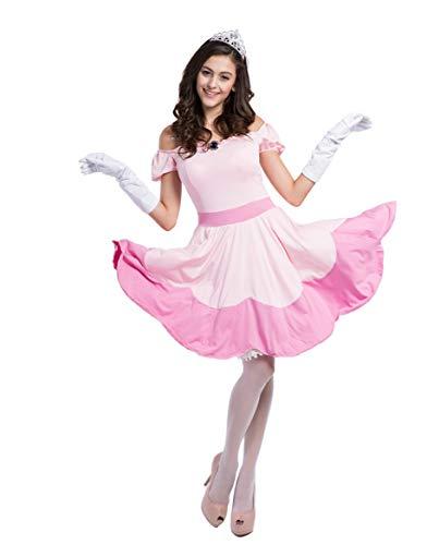 Havitar Pink Princess Fairy Tale Cosplay Costume Halloween Costume Princess Dress Adult Fairy Dress (Pink Princess Dress) ()